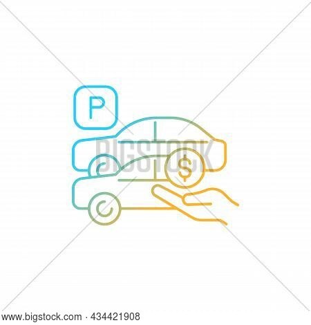 Free Parking Spots Gradient Linear Vector Icon. Provide Parking For Employees. Reward For Workers. O
