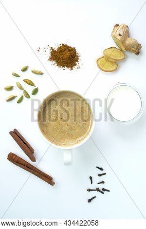 Flavoured Tea Chai Made By Brewing Black Tea With Aromatic And Herbs. Top View.