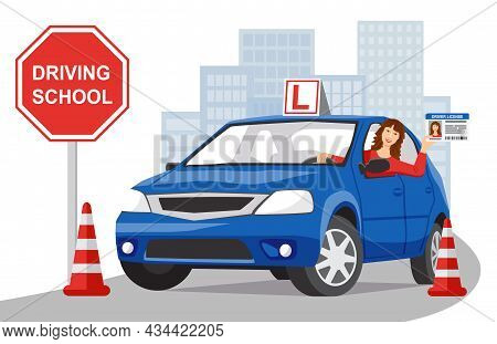 A Smiling Girl Sits In A Blue Training Car And Shows Her Driver License. City Landscape In The Backg