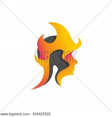Mental Head Logo Vector Design Concept. Head Icon Logo On Fire For Mental Head Care Logo Design Imag