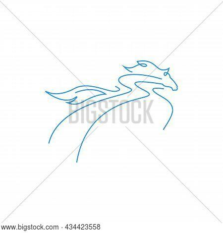 Abstract Horse Line Illustration Logo