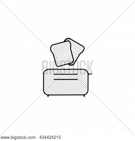 Toaster Vector Thin Line Icon. Toaster Hand Drawn Thin Line Icon.