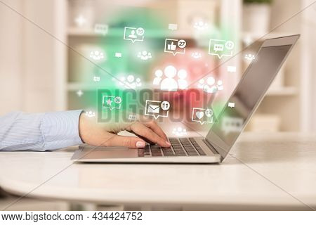 Young person surfing on social media network
