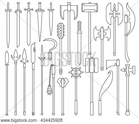 Medieval Weapon Isolated Outline Set Icon. Vector Outline Set Icon Knight Sword. Vector Illustration
