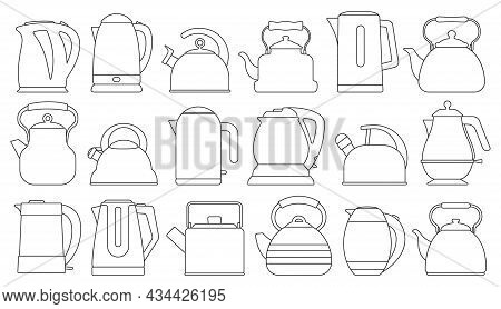 Kettle Isolated Outline Set Icon. Vector Outline Set Icon Electric Teapot. Vector Illustration Kettl