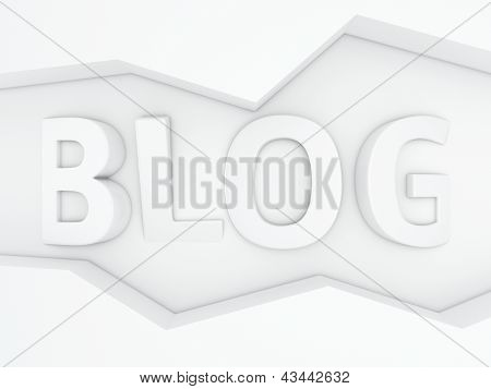 Three-dimensional word Blog in the zig-zag frame poster