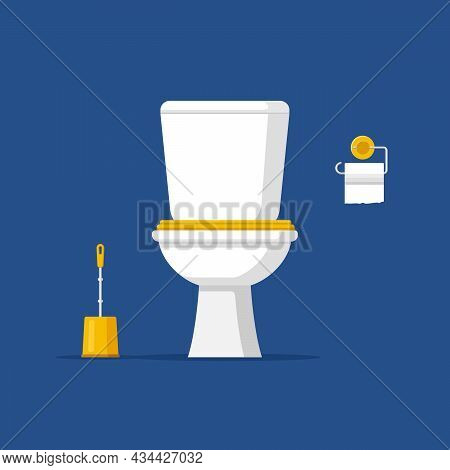 Modern Toilet Room Interior, Classic White Ceramic Toilet Bowl With Water Tank, Paper And Brush In F