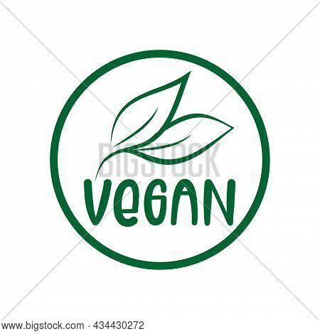 Vegan Logo Green Leaf Label  For Veggie Or Vegetarian Food Package Design. Isolated Green Leaf Icon