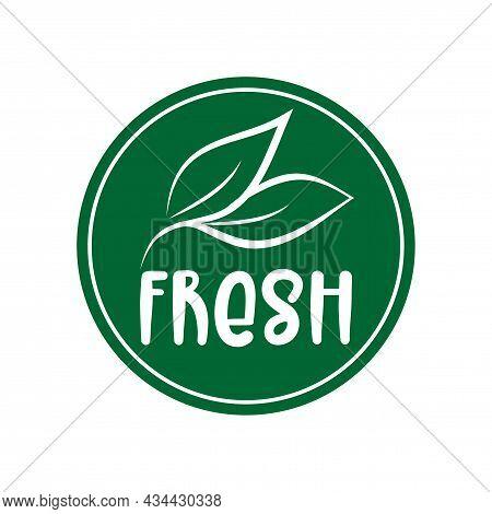 Fresh Logo Green Leaf Label  For Veggie Or Vegetarian Food Package Design. Isolated Green Leaf Icon
