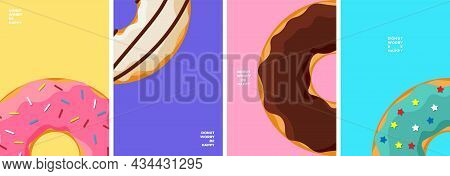 Colorful Tasty Donut Poster Design Template Set. Glazed Doughnuts Banner Collection For Cafe Decorat