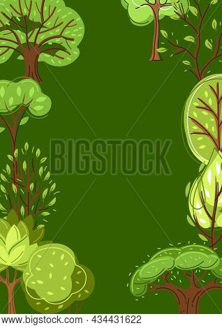 Set Of Spring Or Summer Abstract Stylized Trees.