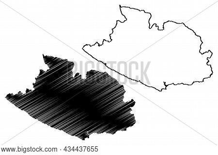 Gir Somnath District (gujarat State, Republic Of India) Map Vector Illustration, Scribble Sketch Gir