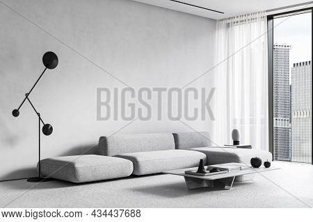 White Modern Minimalist Interior With Sofa, Coffee Table, Floor Lamp And Panoramic Window. 3d Render