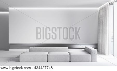 Contemporary Minimalist White Interior With Sofa And Backlight. 3d Render Illustration Mockup.