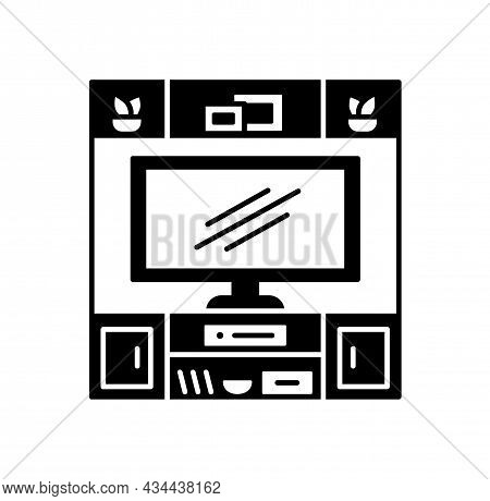 Hutch Tv Stand. Black And White Vector Illustration. Modern Media Console. Line Icon Of Led Televisi