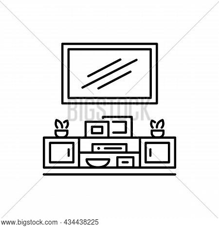 Wall Mounted Floating Tv Stand. Vector Illustration Of Modern Media Console. Line Icon Of Led Televi