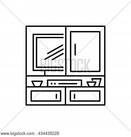 Hidden Tv Cabinet. Black And White Vector Illustration. Modern Media Console. Line Icon Of Led Telev