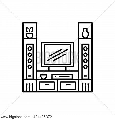 Tv Stand With Audio Towers. Entertainment Center. Vector Illustration. Modern Media Console. Line Ic