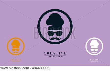 Glasses Chef Hat And Thick Mustache In A Circle, Great For Restaurant Chef Logo Icons, Cafes, Cafe W