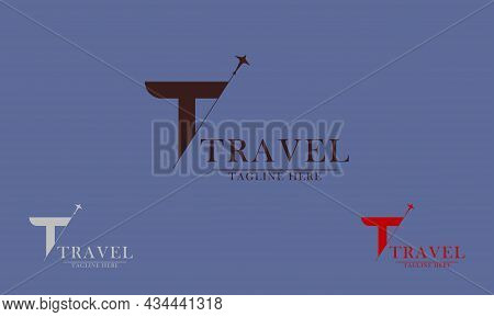 Letter T Plane Line, Good For Travel Agency Logo Icon, Tourism Guide, Travel Agency. Vector Concept