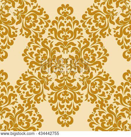 Damask Seamless Wallpaper. Classic Rich Pattern. Gold, Beige. Decorative Texture. Digital Graphics.f