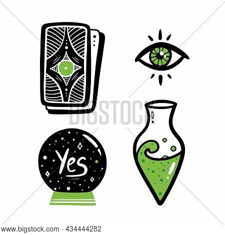 Set, Collection Of Magic, Witchcraft, Spiritual Related Icons. Crystal Ball, Magic Eye, Tarot Cards,
