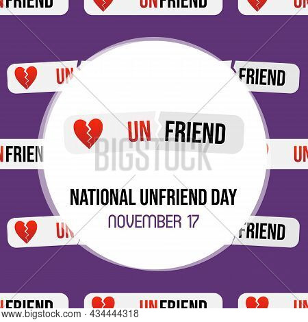 National Unfriend Day Social Media Card, Illustration With Unfriend Stickers, Labels And Seamless Pa