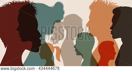 Psychology And Psychiatry Concept. Silhouette Heads Faces In Profile Of Multiethnic And Multicultura