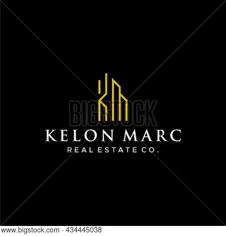 Modern And Simple Logo About Letter Km And Real Estate. Eps 10, Vector.