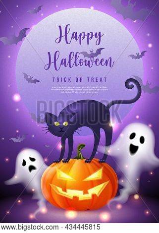 Happy Halloween 3d Realistic Scary Jack Lantern Black Cat Spirit Ghost With Purple Tone Full Moon Ba