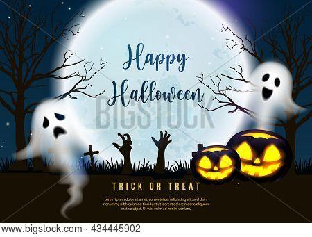 Happy Halloween Scary Jack Lantern Spirit Ghost With Full Moon Night Graveyard Background
