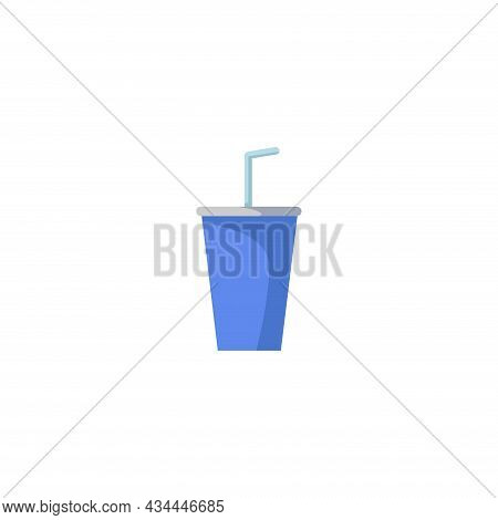 Disposable Soda Cup Vector Clipart. Soda Pop Isolated Flat Icon.