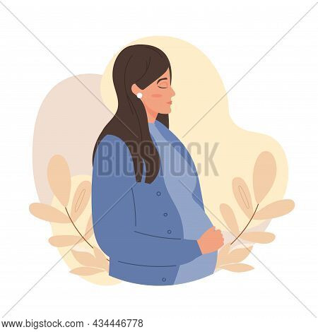 Pregnant Female Character With Closed Eyes Is Touching Her Belly On White Background. Concept Of Pre
