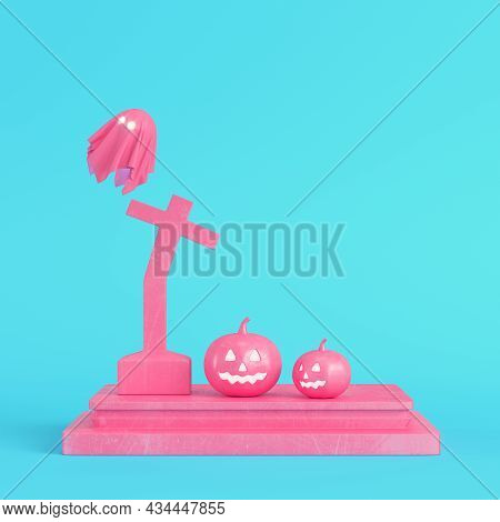 Pink Halloween Pumpkins With Ghost And Cross Gravestone On Bright Blue Background In Pastel Colors.