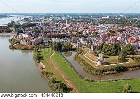 Aerial from the historical city Gorinchem at the river Merwede in the Netherlands