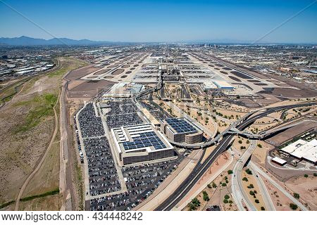 Aerial View Looking East To West Of The International Airport In Phoenix, Arizona