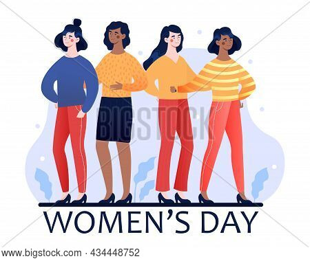 International Womens Day Postcard With Four Strong Female Characters Of Different Cultures And Ethni