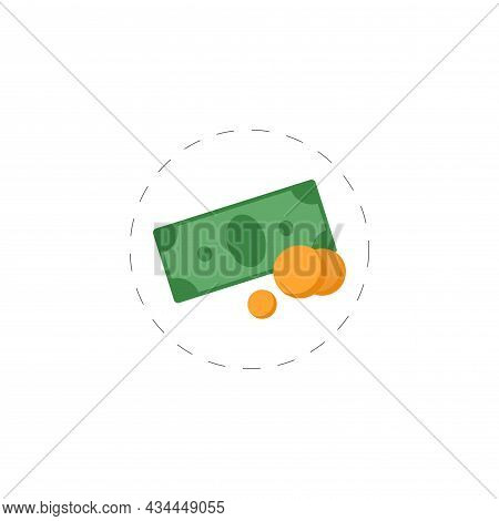 Money Pile. Stacked Packs Of Dollar Bills And Gold Coins Vector Clipart. Money Isolated Flat Icon.