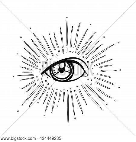 Blackwork Tattoo Flash. Eye Of Providence. Masonic Symbol. All Seeing Eye Inside Triangle Pyramid. N