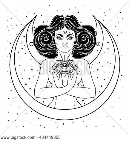 African American Magic Woman Holding All Seeing Eye With Rays. Vector Illustration. Mysterious Black