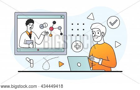 Male Character Is At The Remote Appointment With A Therapist Online On White Background. Concept Of