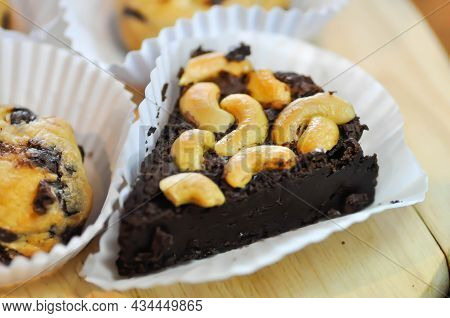 Brownie, Chocolate Cake With Almond Topping And Cookie