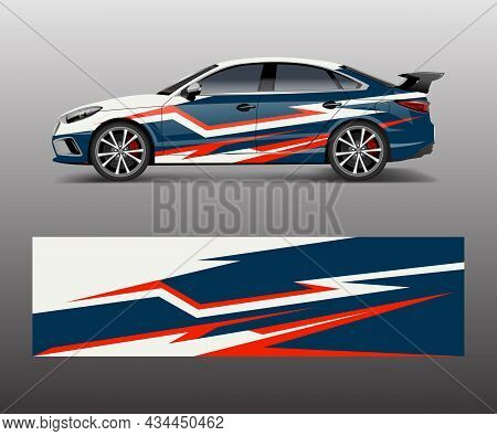 Abstract Sport Racing Car Wrap Decal And Sticker Design. Vector Eps10 Format.