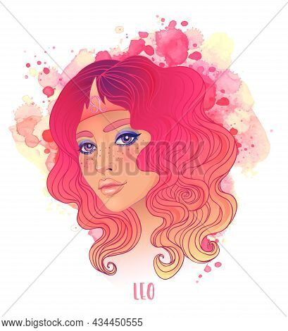 Leo Astrological Sign As A Beautiful Girl. Vector Illustration Over Watercolor Background Isolated O