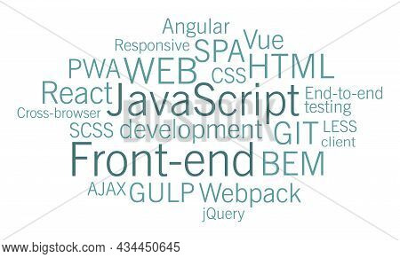 Front-end Stack Of Technologies. Computer Science. Tags