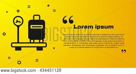 Black Scale With Suitcase Icon Isolated On Yellow Background. Logistic And Delivery. Weight Of Deliv