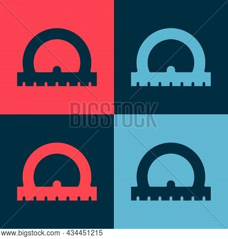 Pop Art Protractor Grid For Measuring Degrees Icon Isolated On Color Background. Tilt Angle Meter. M