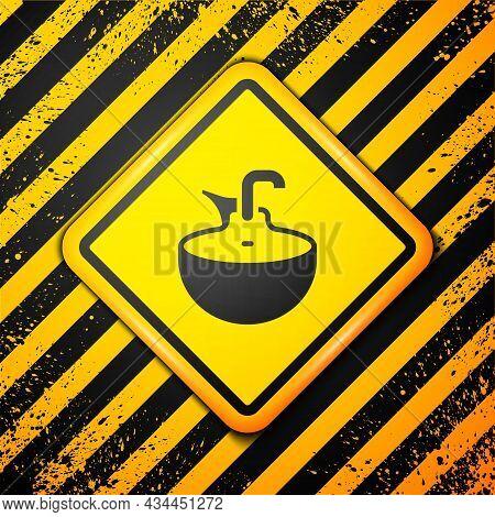 Black Washbasin Icon Isolated On Yellow Background. Barber Washing Chair With Washbasin. Hair Washin