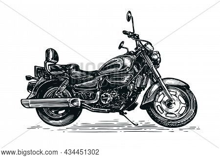 Motorcycle Vector Illustration In Sketch Style. Motorbike Vintage Transport Isolated On White Backgr