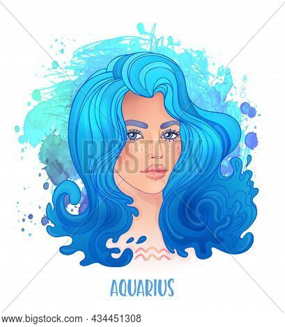 Aquarius Astrological Sign As A Beautiful Girl. Vector Illustration Over Watercolor Background Isola